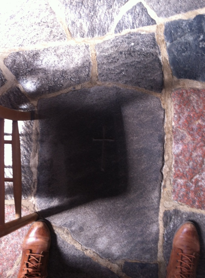My feet in Iona Abbey